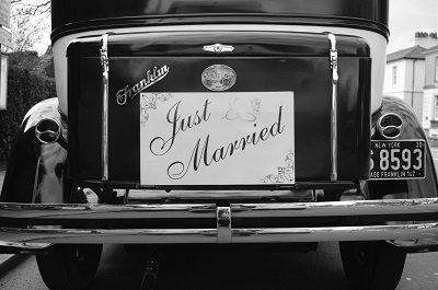 Vintage wedding car at The Bedford Hotel
