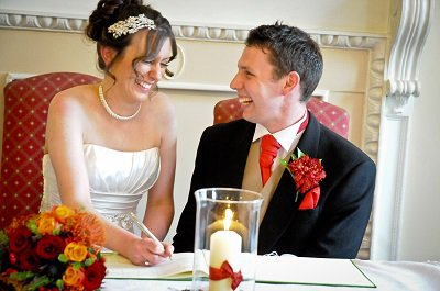 Bride and groom at The Bedford Hotel