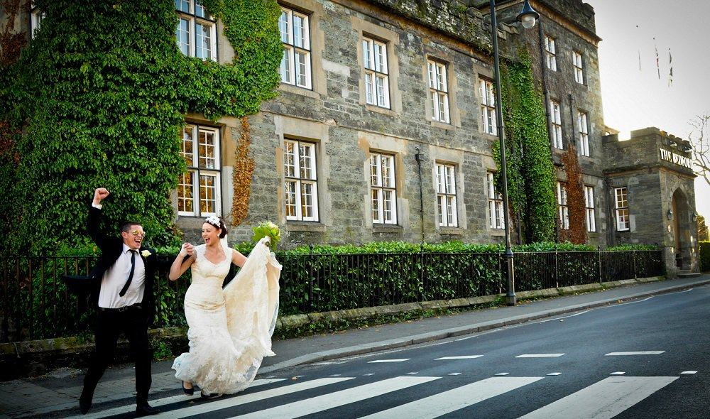 Bride and groom outside Bedford Hotel Tavistock