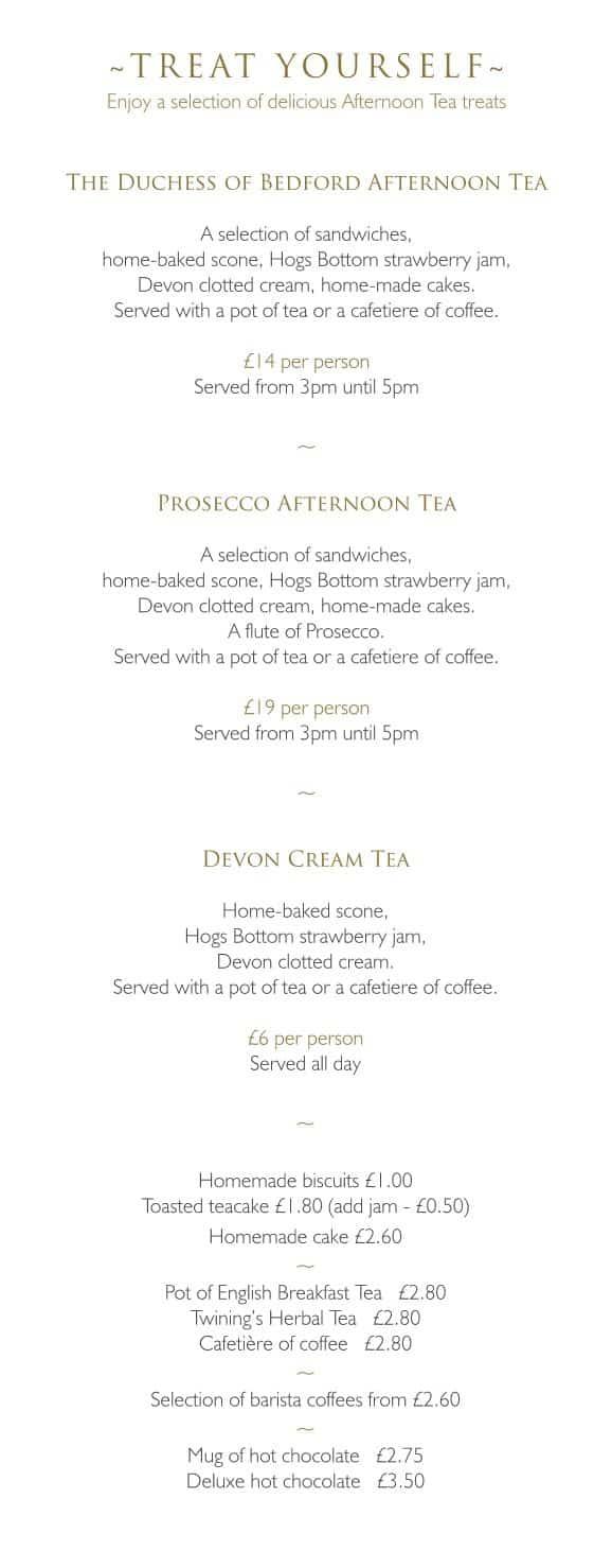 Afternoon Tea Menu - The Bedford Hotel, Tavistock