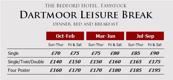 Dartmoor Leisure Break prices at The Bedford Hotel, Tavistock, Devon