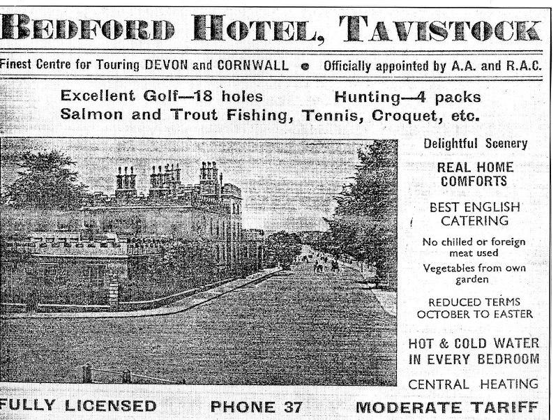 Bedford Hotel Tavistock history - old advert