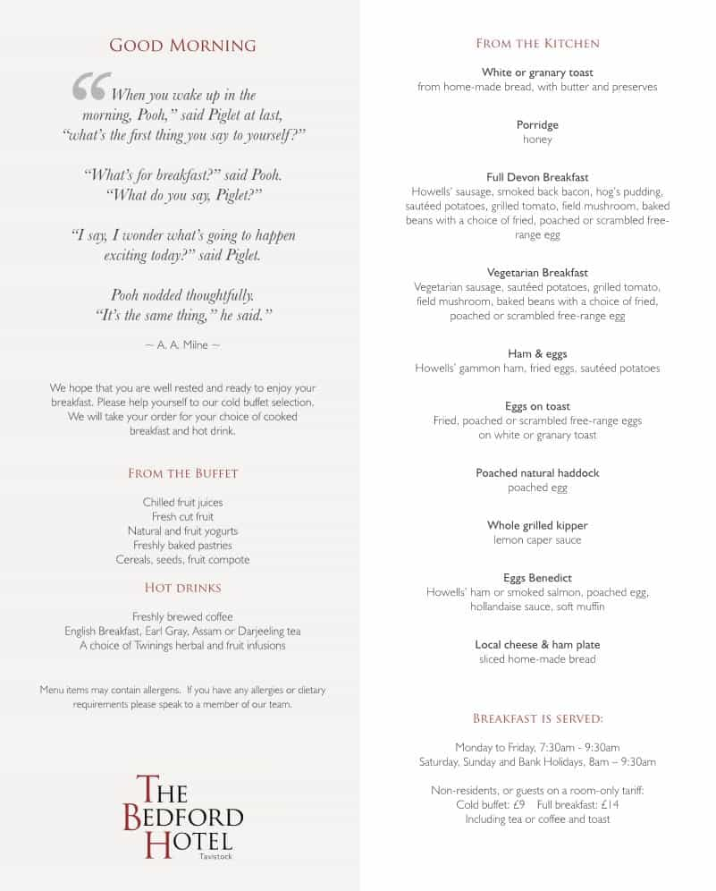 The Bedford Hotel Tavistock breakfast menu