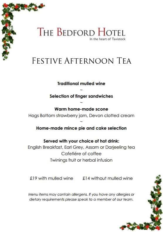 Festive Afternoon Tea menu at The Bedford Hotel Tavistock