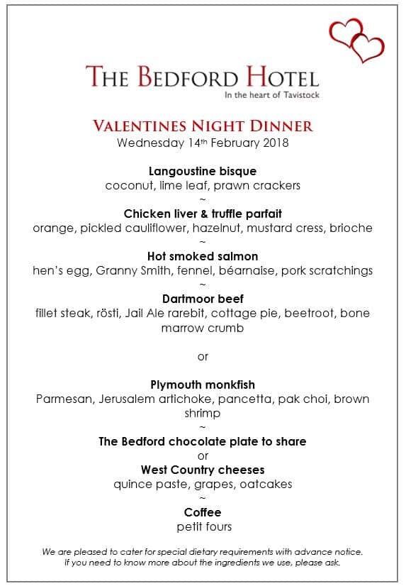 Valentines Night Dinner Menu