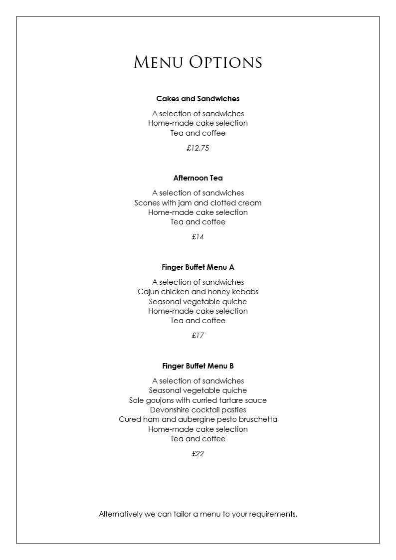 celebration of life menu options