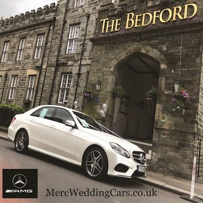 Mercedes wedding car outside Bedford Hotel Tavistock