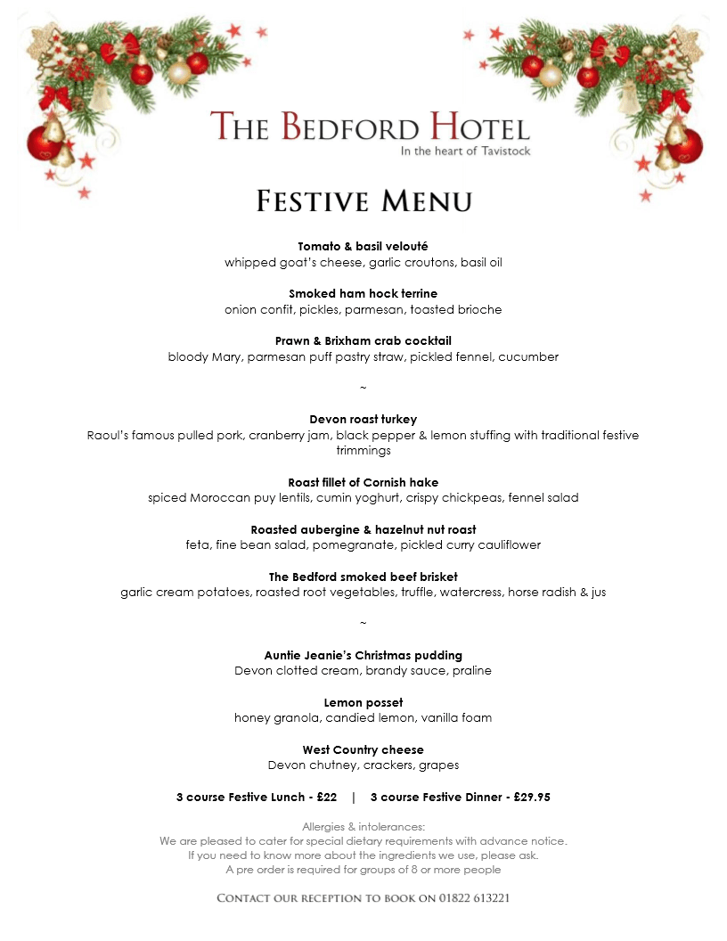 The Bedford Hotel festive lunch and festive dinner menu