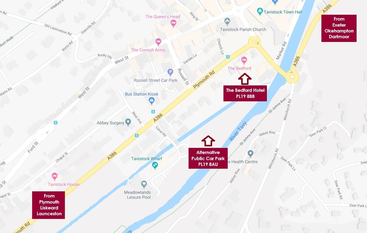 Map showing location of Bedford Hotel Tavistock and alternative parking