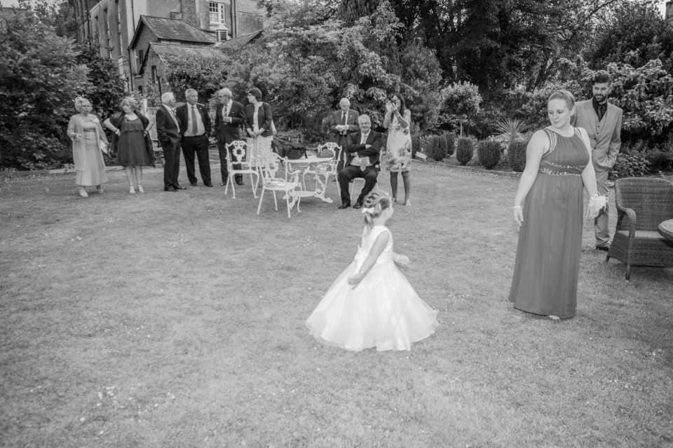 Wedding drinks reception in the garden at The Bedford Hotel in Tavistock