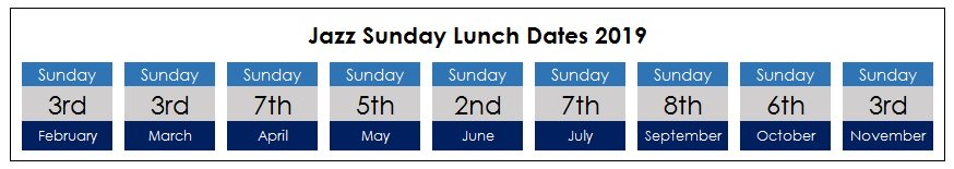 Jazz Sunday Lunch dates