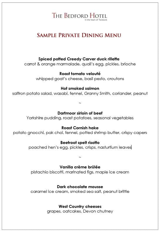 Sample private dining menu