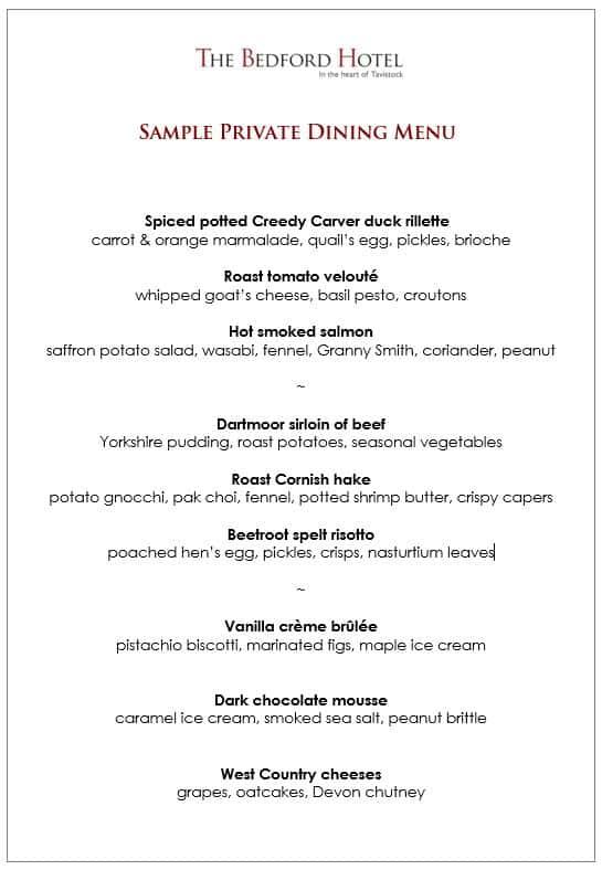 Sample private dining menu