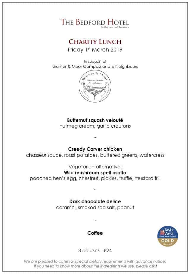 Charity lunch menu