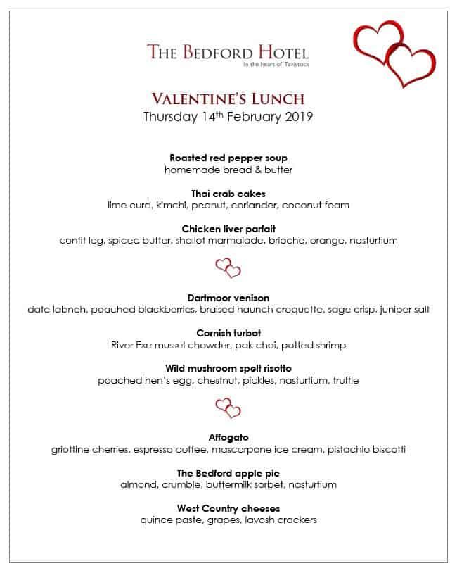 Valentines lunch menu
