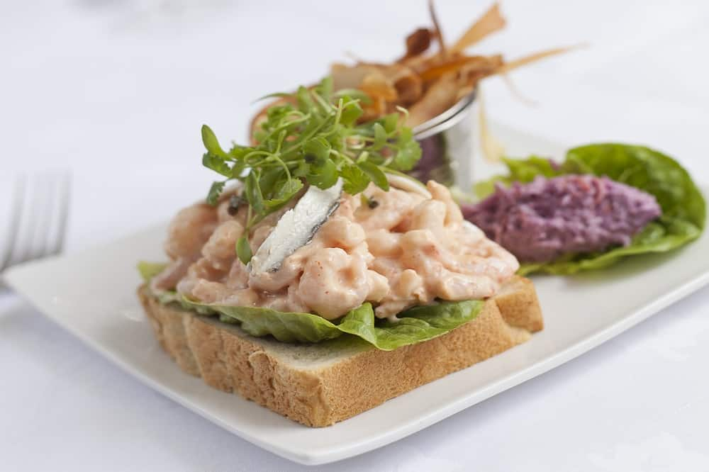 Open prawn sandwich