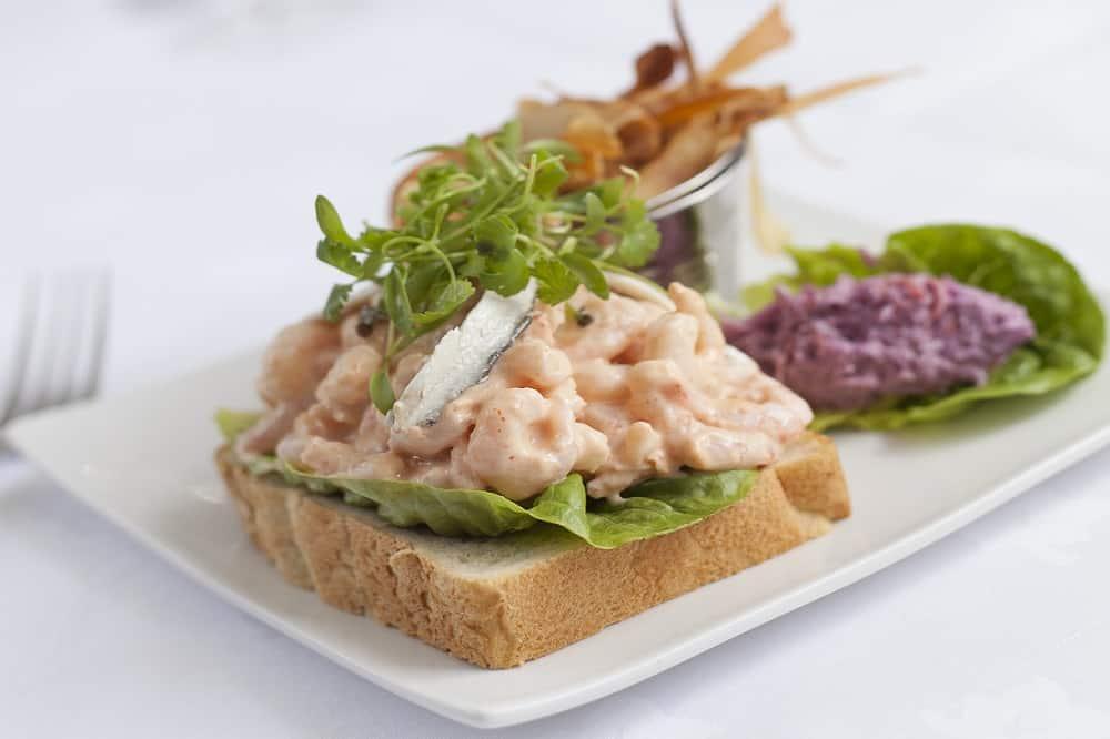 Open prawn sandwich
