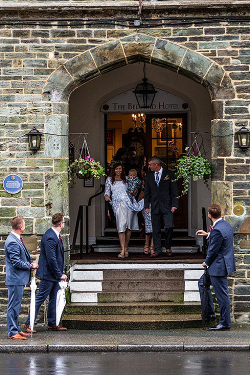 Bride leaving The Bedford Hotel