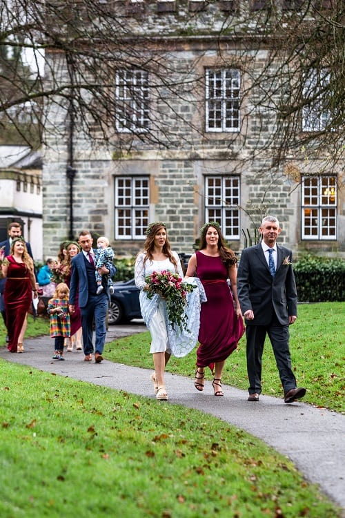 Bride and wedding party leaving The Bedford Hotel