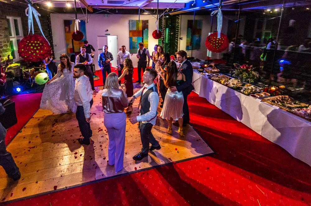 Evening wedding reception and buffet