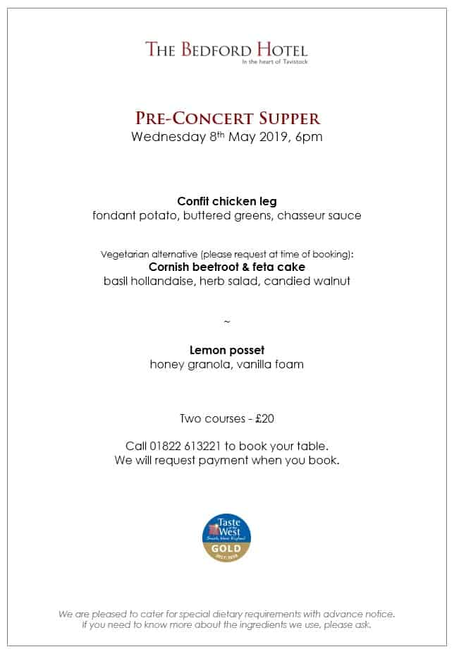 Pre-Concert Supper Menu