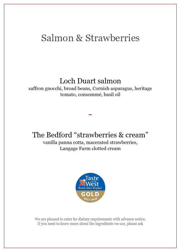 Salmon and strawberries lunch menu