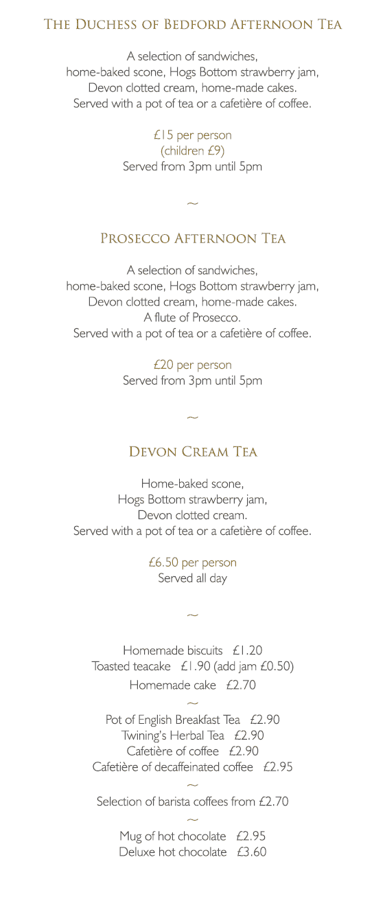 Afternoon Tea Menu - The Bedford Hotel Tavistock