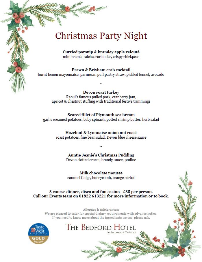 The Bedford Hotel Tavistock - Christmas Party Night Menu
