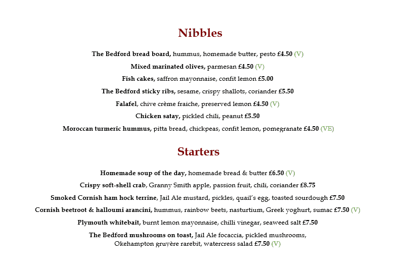 Nibbles and starters menu