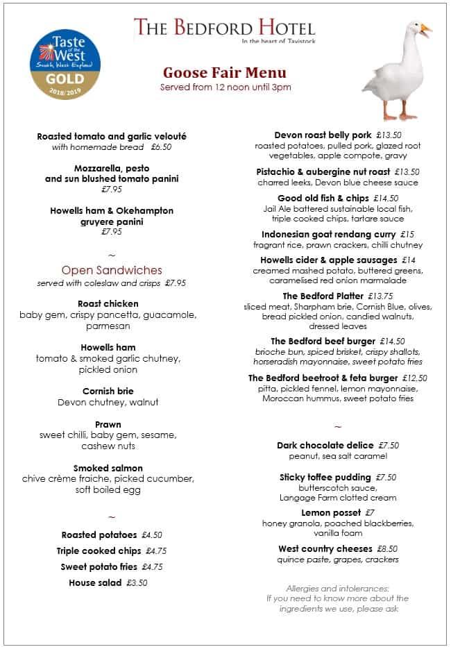 goose fair menu