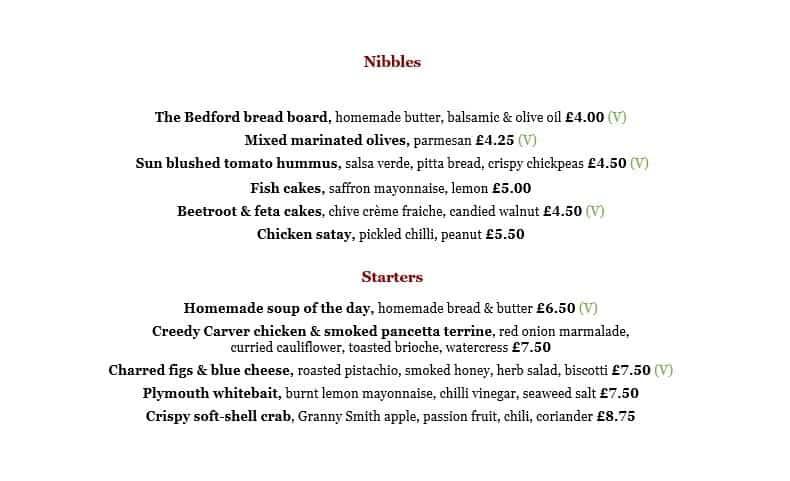 Lunch and dinner menu - starters