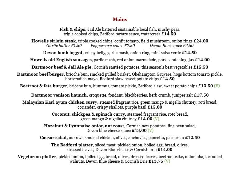 Lunch and dinner menu - main courses
