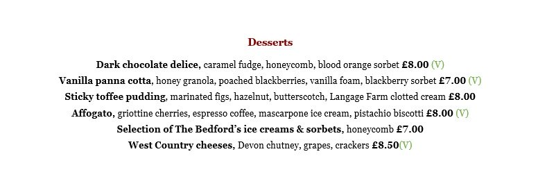 Lunch and dinner menu - desserts