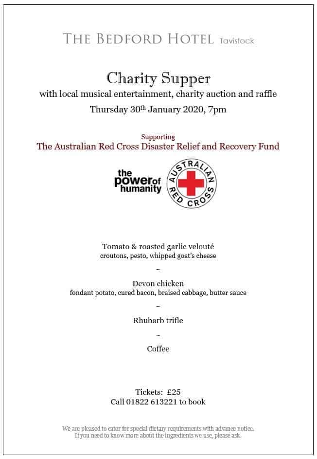 Charity Supper Menu