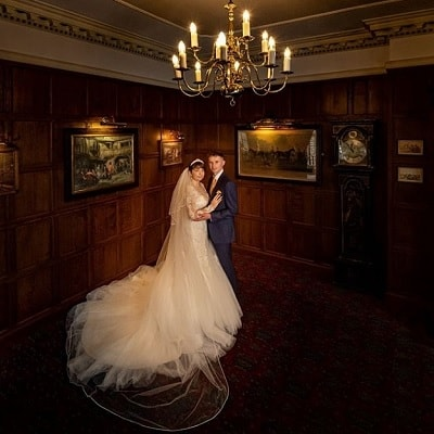Bride and Groom photographed in the Tavistock Room at The Bedford Hotel