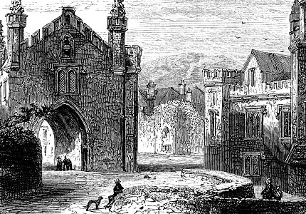 Old drawing of Tavistock Abbey