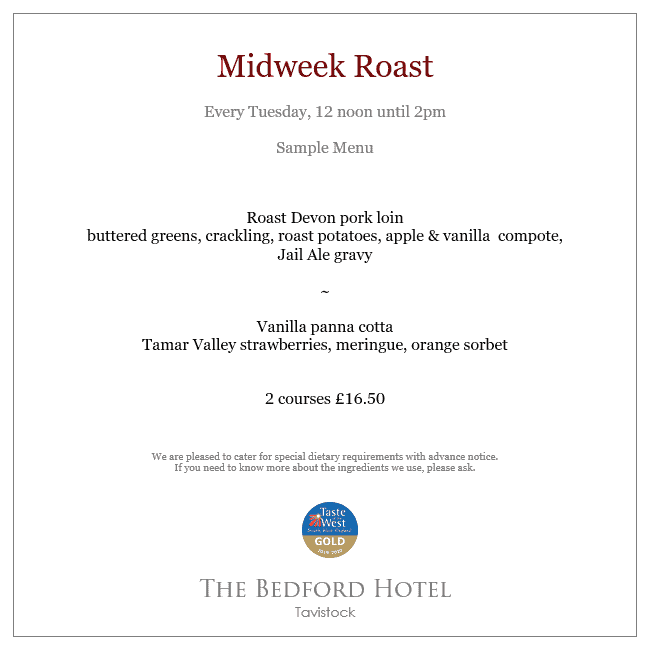 Midweek roast lunch menu