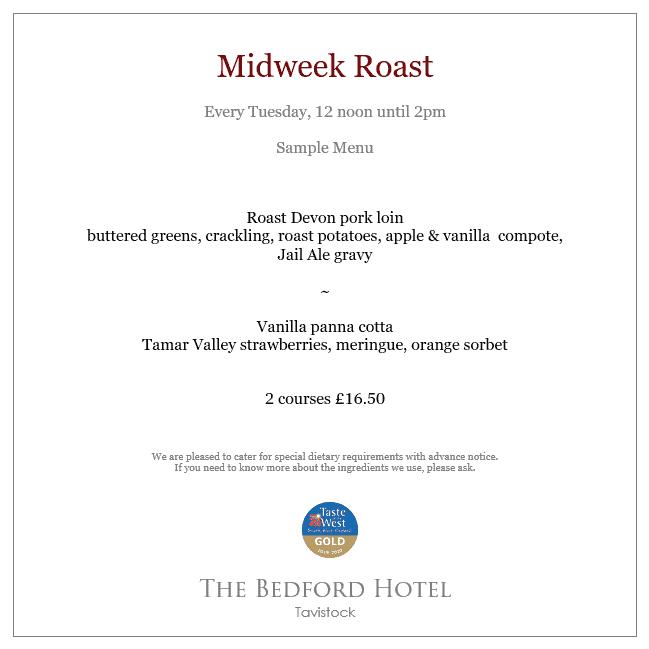 Midweek roast lunch menu