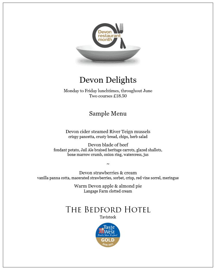 Devon Restaurant Month - lunch menu at The Bedford Hotel