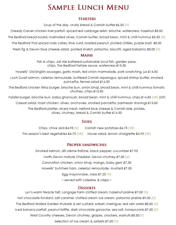 Sample lunch menu