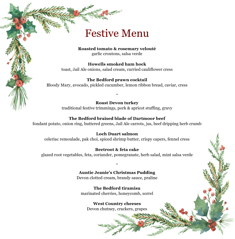 Menu for Christmas lunches and dinners